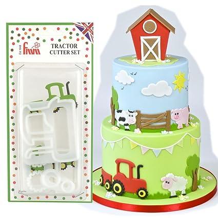 fmm icing cutter farm farmer tractor set boys cake fondant stencil