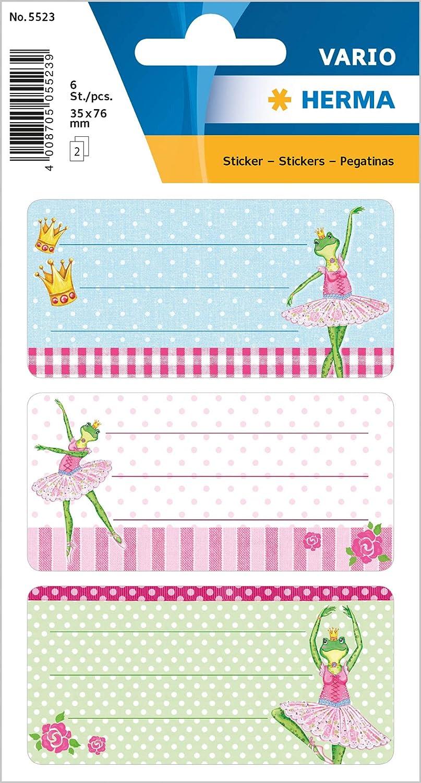 HERMA 5523Nombre de cuaderno etiquetas para la Escuela, diseño de rana bailarina, formato 7,6x 3,5cm, purpurina, contenido por paquete: 6etiquetas