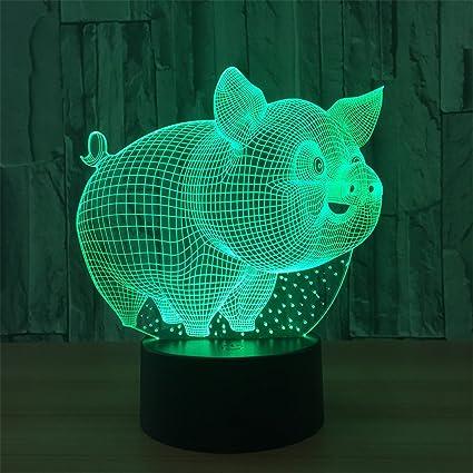 LT&NT Lámpara 3d cerdo ilusión óptica led luces mesa noche lámpara 5 colores cambiantes usb bluetooth
