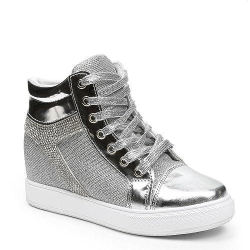 Ideal Shoes Daena - Zapatillas con Cuña, Decoradas con Brillo y Lentejuelas, Plateado (Plata), 38: Amazon.es: Zapatos y complementos