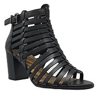 MVE Shoes Women's Peep Toe Cut Out Sandal Chunky Low Heel - Fashion Shoes-Makeup-Open Toe Heel Sandal