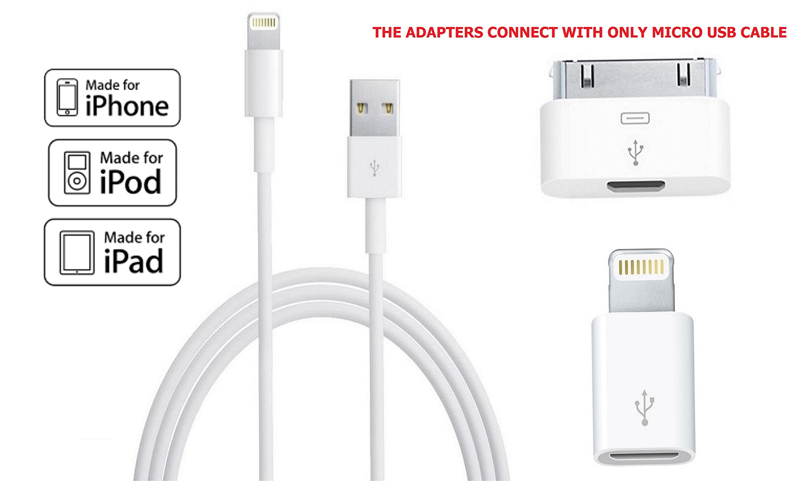 Apple MFI Certified Lightning Cable, Smartgik® Lightning to USB Cable 3ft; Micro Usb to 8-pin Adapter & 30pin to Micro Usb Charger for Apple Iphone 4 5 5s 5c 6 6s Plus Ipod Ipad Mini Air 2 3 4 iOS9