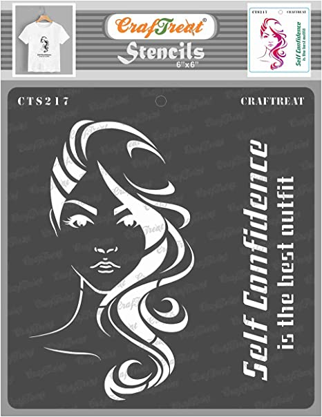 thecraftshop Stencil Confident Women Reusable Painting Template for Art and Craft, Mixed Media, Wall, Home Decor, DIY Albums, Card Making and Fabric