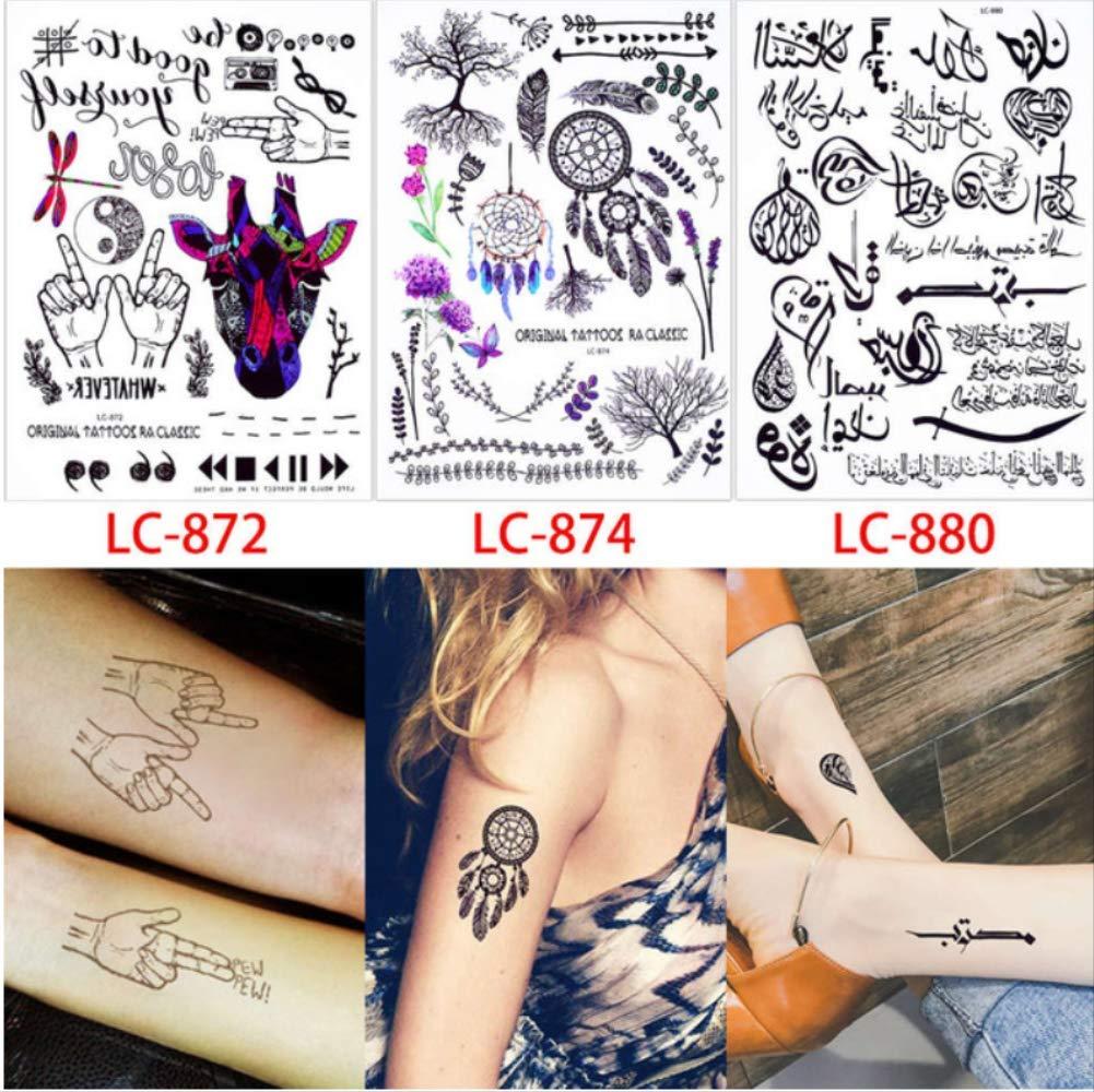 yyyDL Etiqueta engomada del tatuaje temporal a prueba de agua ...