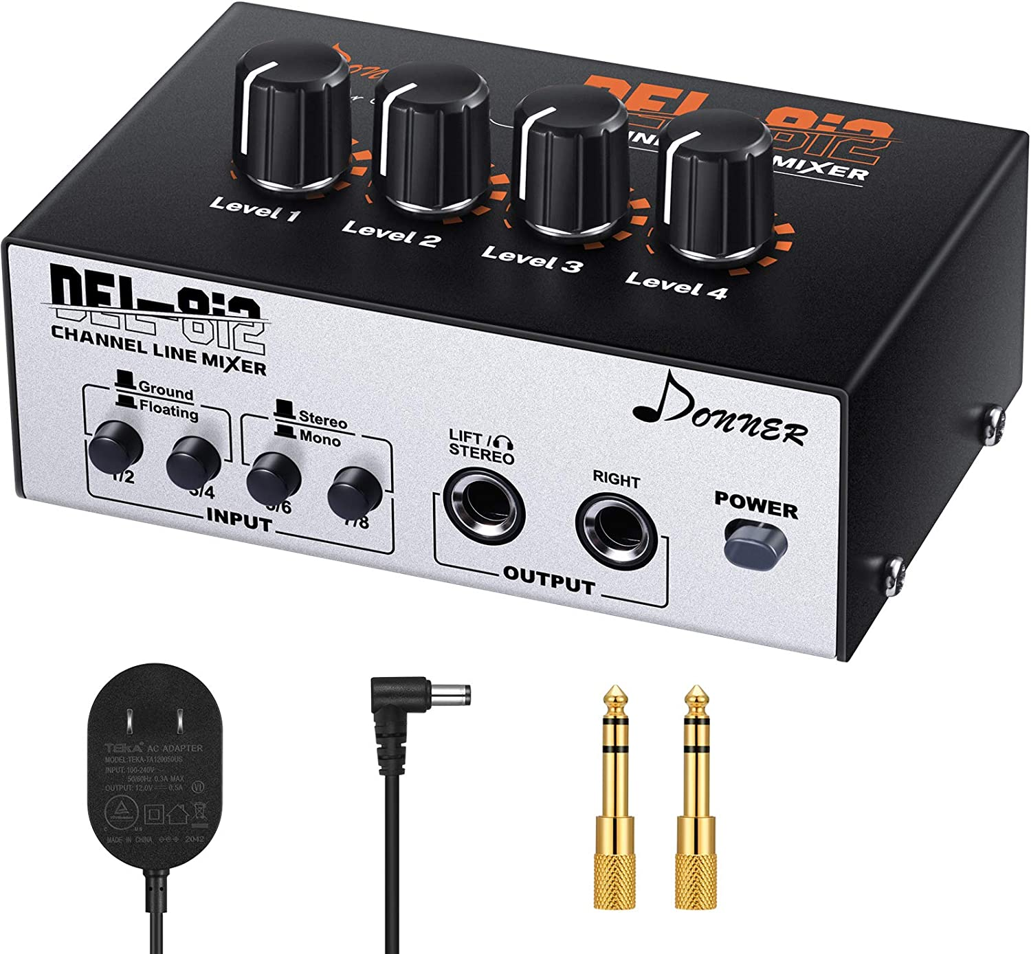 Donner DEL-8i2 4-Channel Stereo Line Headphone Mixer Mini Audio Mixer with Floating//Grounding Ideal for Club or Bar Mixer for Microphones,Guitars,Bass,Keyboards or Stage Sub Mixer-N5