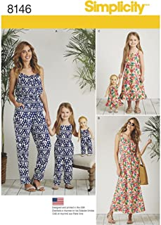 product image for Simplicity 8146 Matching Sets for Misses, Child, and Doll Jumpsuit and Maxi Dress Sewing Pattern, XS-XL