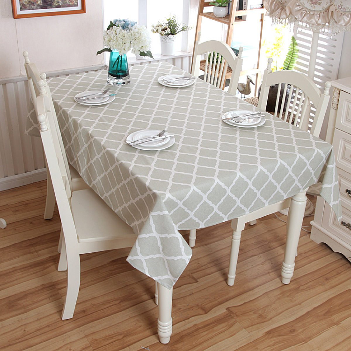 AISHNI Tablecloth Cotton Modern Simple Geometrical Rhombus Grey Lace Coffee Table Table Cloth Table Cloth,A-90*90cm