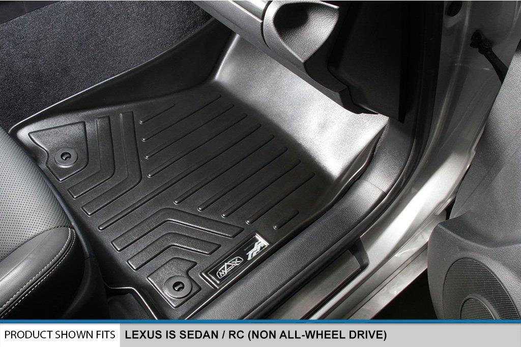SMARTLINER Floor Mats 2 Row Liner Set Black for 2014-2018 Lexus IS Sedan Rear Wheel Drive Only MAXLINER A0138//B0138