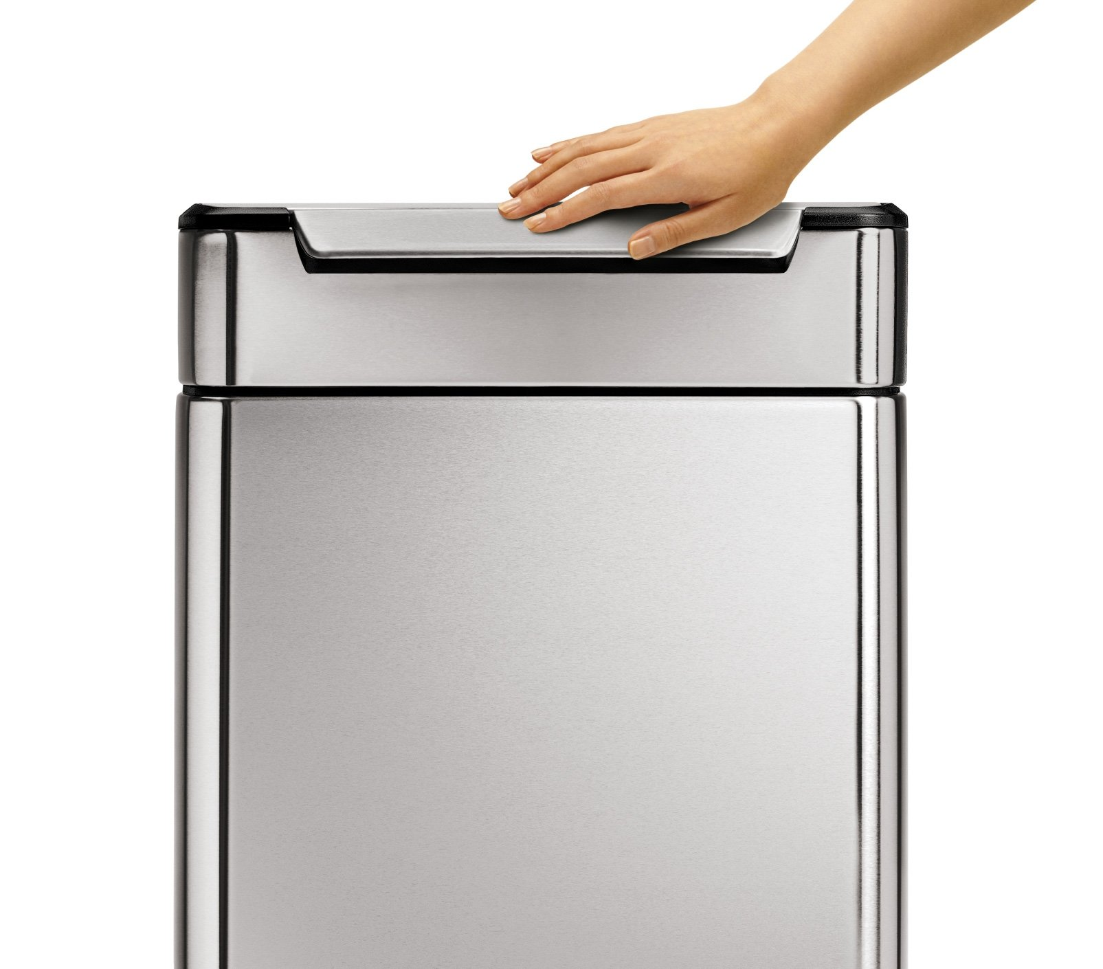 simplehuman 48 Liter / 12.7 Gallon Stainless Steel Touch-Bar Kitchen Dual Compartment Trash Can Recycler, Brushed Stainless Steel, ADA-Compliant