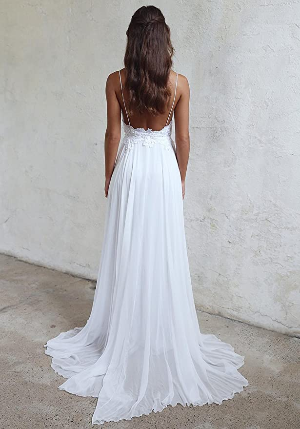 Udresses Sexy Spaghetti Straps Vestidos de Novia Backless Chiffon Lace Beach Wedding Dresses D10 at Amazon Womens Clothing store: