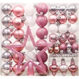 60x glas christbaumkugeln lila rosa ros glanz matt weihnachtskugeln 4 5 6 7 cm - Christbaumkugeln lila silber ...