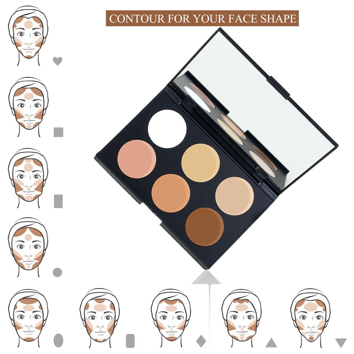 RUIMIO Contour Kit Cream Contour Palette 6 Colors with Makeup Brush Set by PIXNOR (Image #3)