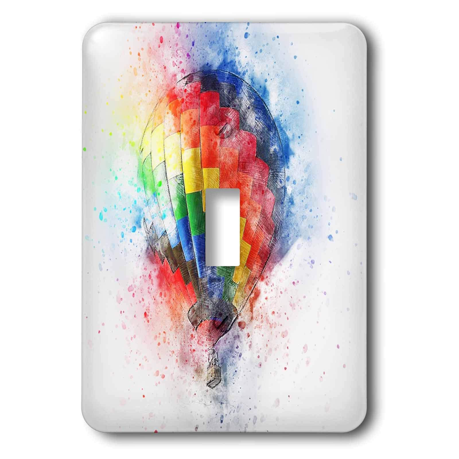 3dRose Lens Art by Florene - Watercolor Art - Image of Pretty Painting of Colorful Hot Air Baloon - Light Switch Covers - single toggle switch (lsp_290980_1)