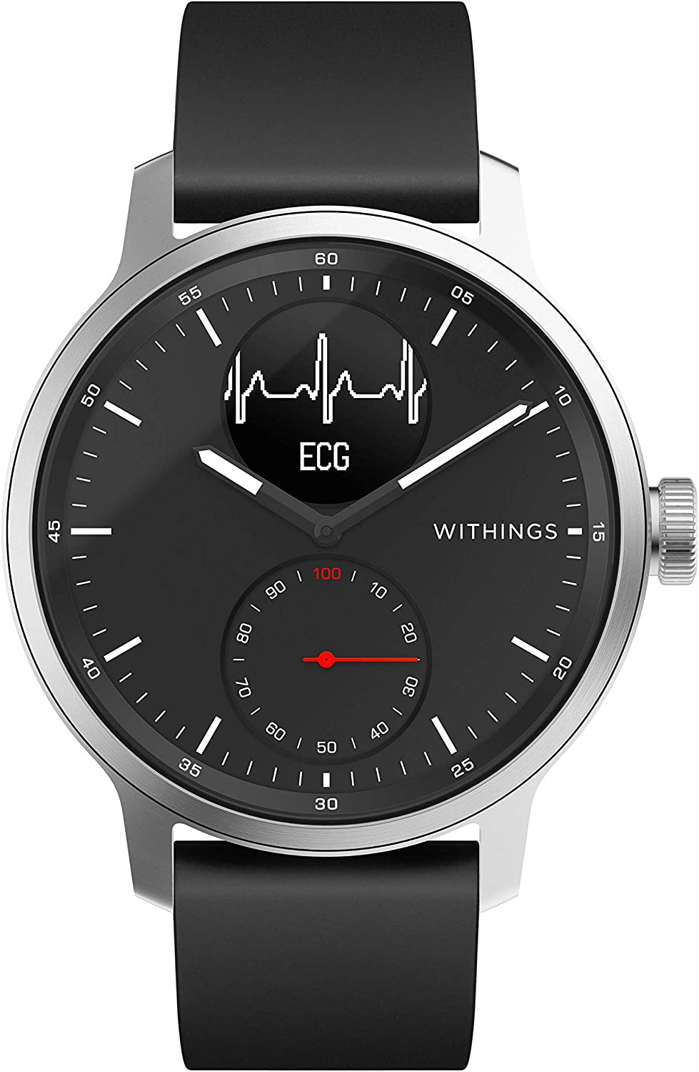 Withings ScanWatch - Reloj inteligente híbrido con ECG, tensiómetro y oxímetro, 42 mm, color Negro