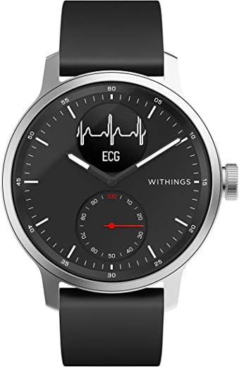 Withings Scanwatch 42 mm Nero, Hybrid Smart Watch with ECG, Heart Rate Sensor And Oximeter, SpO2, Sleep Tracking Unisex-Adult