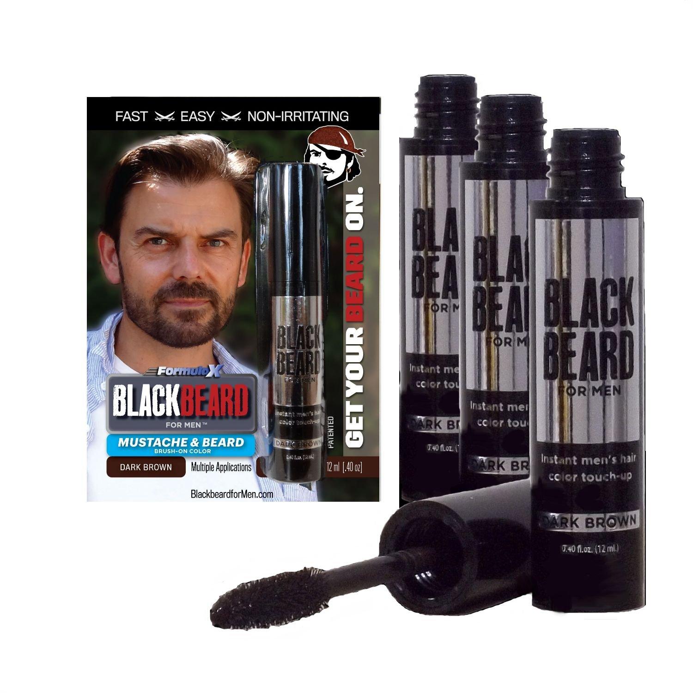 Blackbeard for Men - Instant Brush-On Beard & Mustache Color - 3-pack