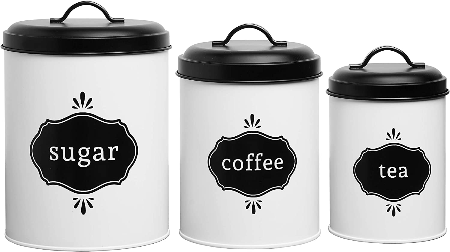 White-Farmhouse-Kitchen-Canister-Set-Metal-Food-Storage-Container-Jars