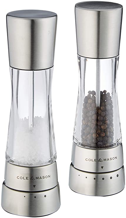 3b923837354b Cole & Mason Gourmet Precision Derwent Salt and Pepper Mill Gift Set,  Stainless Steel and