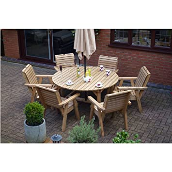 Wooden Garden Furniture Round Table   6 High Back Chairs Round Top Patio Set. Wooden Garden Furniture Round Table   6 High Back Chairs Round Top