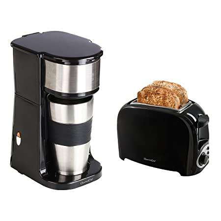 Cafetera individual negra + Tostadora electectrique: Amazon.es: Hogar