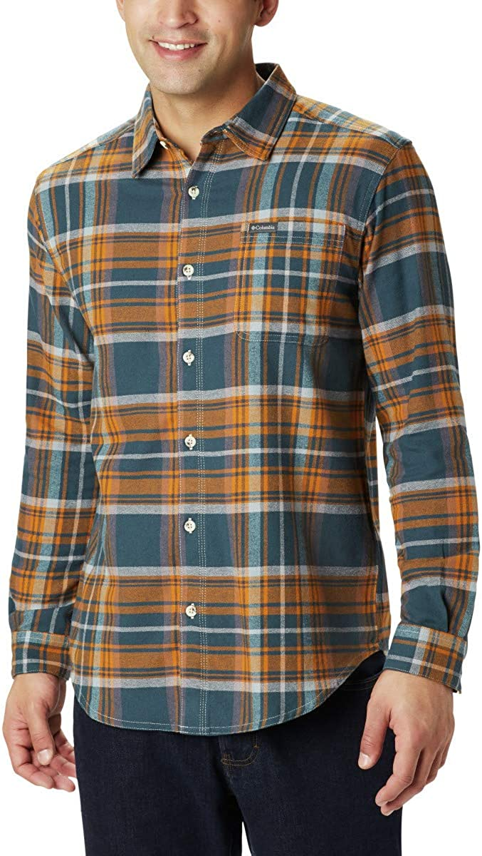 Columbia Men's Boulder Ridge Long Sleeve Flannel Shirt, Comfortable Stretch Cotton at  Men's Clothing store