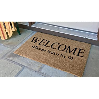 Gardens of the World Welcome (Please Leave by 9) Funny Doormat - 18 x 30 (Beige)