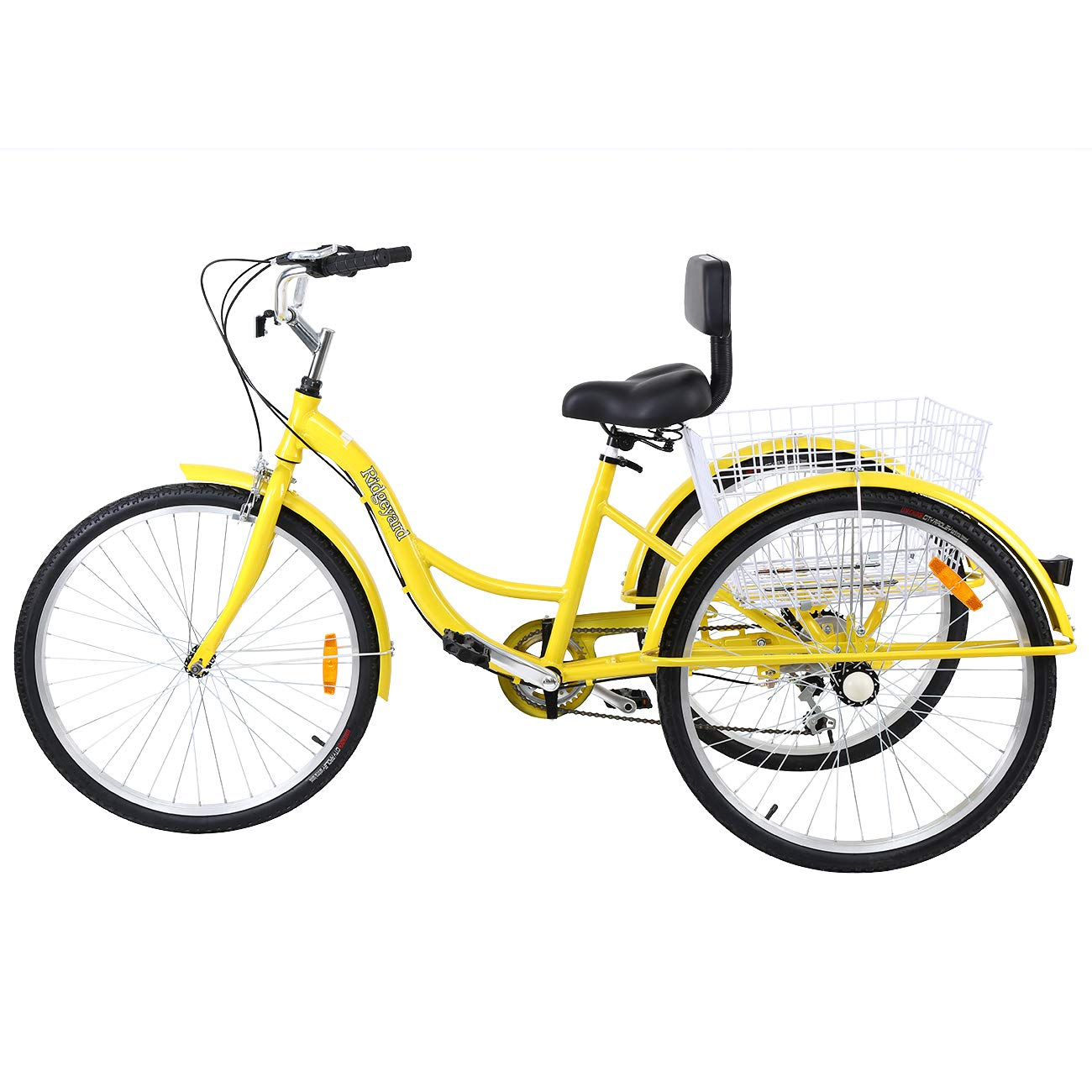 Amarillo MuGuang Triciclo Adulto 26 7 velocidades Bicicleta 3 Ruedas Adulto con Cesta de la Compra