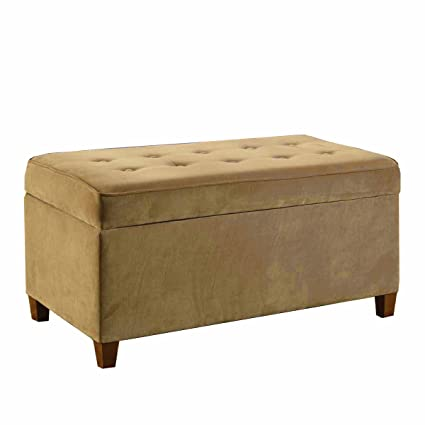 HomePop Button Tufted Rectangle Ottoman Storage Bench With Hinged Lid,  Velvet Mocha