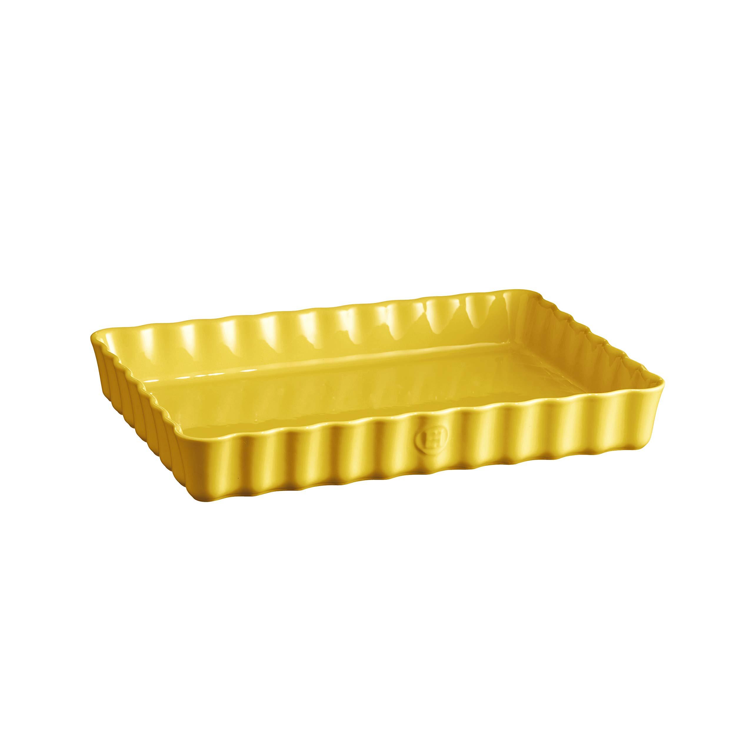 Emile Henry 906038 Large, Provence Yellow Rectangular Tart Dish, 2.5 qt,