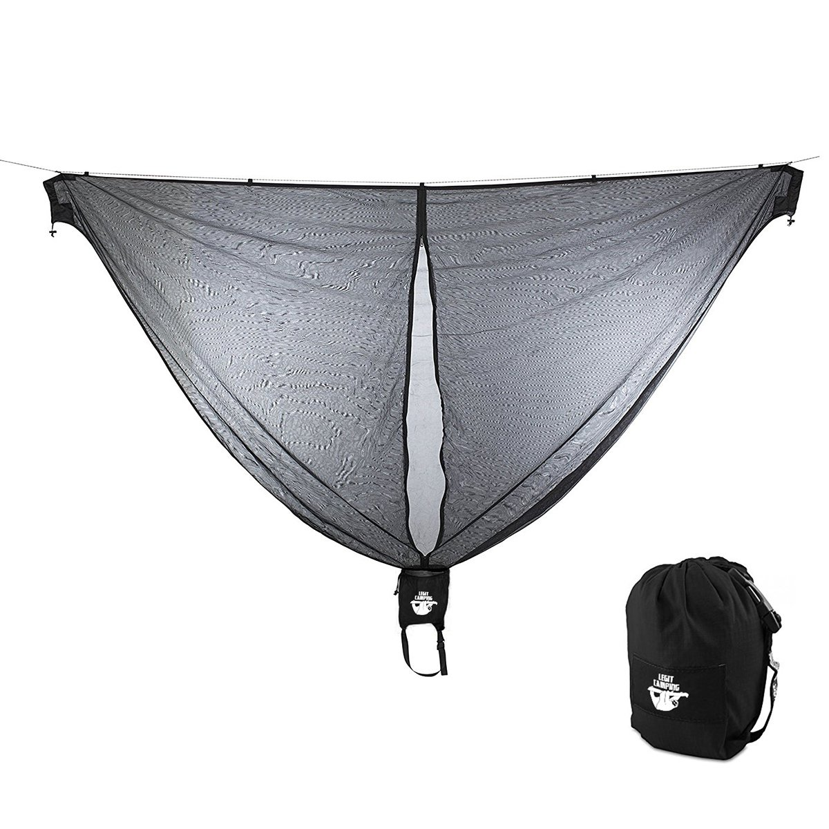Legit Camping Hammock Bug Net 11 Feet Long Mosquito Net - Keep Out Noseeums -Compatible with All Hammock Brands - Includes Ridge Line - (Black) by Legit Camping