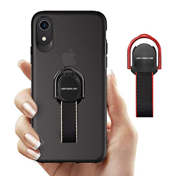 buy online 83b37 a17f2 iPhone XR Case with Finger Strap & Ring Loop Holder, Black Slim Fit Hard  Cover with Grips for Apple iPhone XR, Works with Magnetic Mount & Wireless  ...
