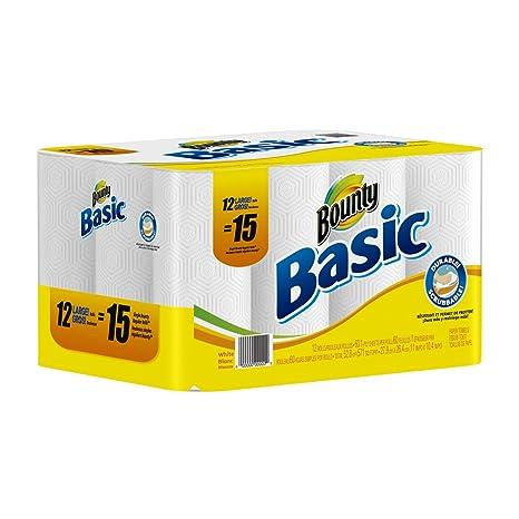 Bounty Basic paquete de toallas de papel de todos los nuevos Super Ahorro 12 rollos grandes
