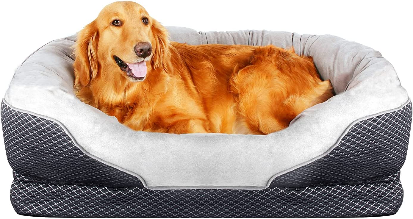 Amazon Com Pet Deluxe Dog Beds Large Pet Bed Orthopedic Dogs Lounge Sofa Pets Couch Beds Super Soft Cat Beds With Removable Washable Cover Kitchen Dining