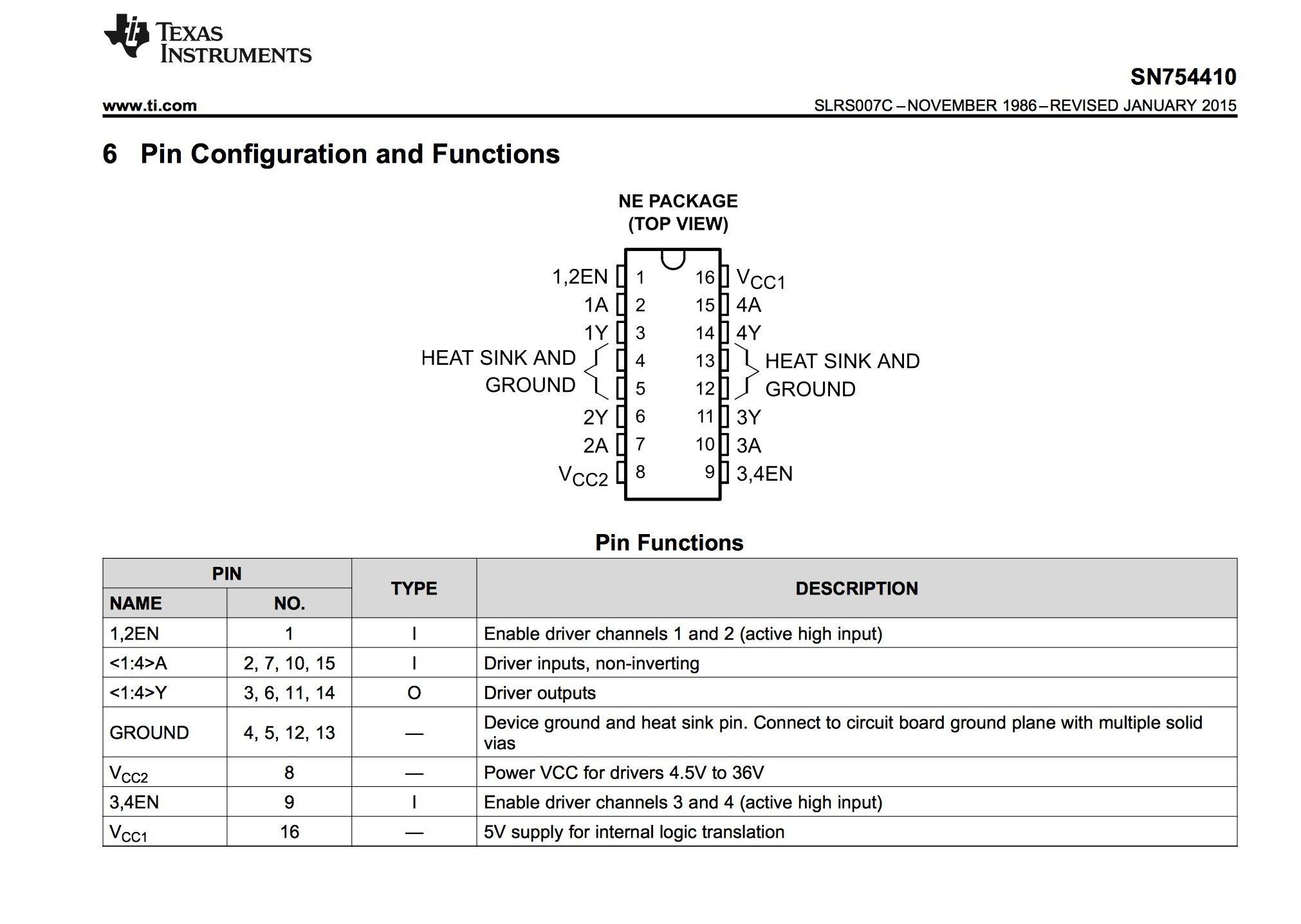 TEXAS INSTRUMENTS SN754410NE IC, PERIPHERAL DRIVER, HALF-H, 1A, DIP16