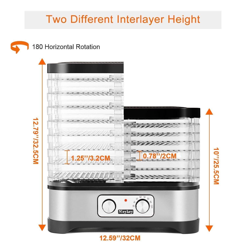 Oveloxe 7 Trays Food Dehydrator Machine 250Watt Temperature Control for Food Knob Button