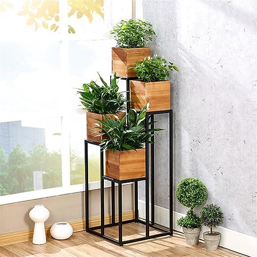 Estantería de flores de estilo americano Escalera Racks de pote / Racks de flores Balcón Salón Estante de madera maciza / Estantería en maceta Flores Escaleras: Amazon.es: Jardín