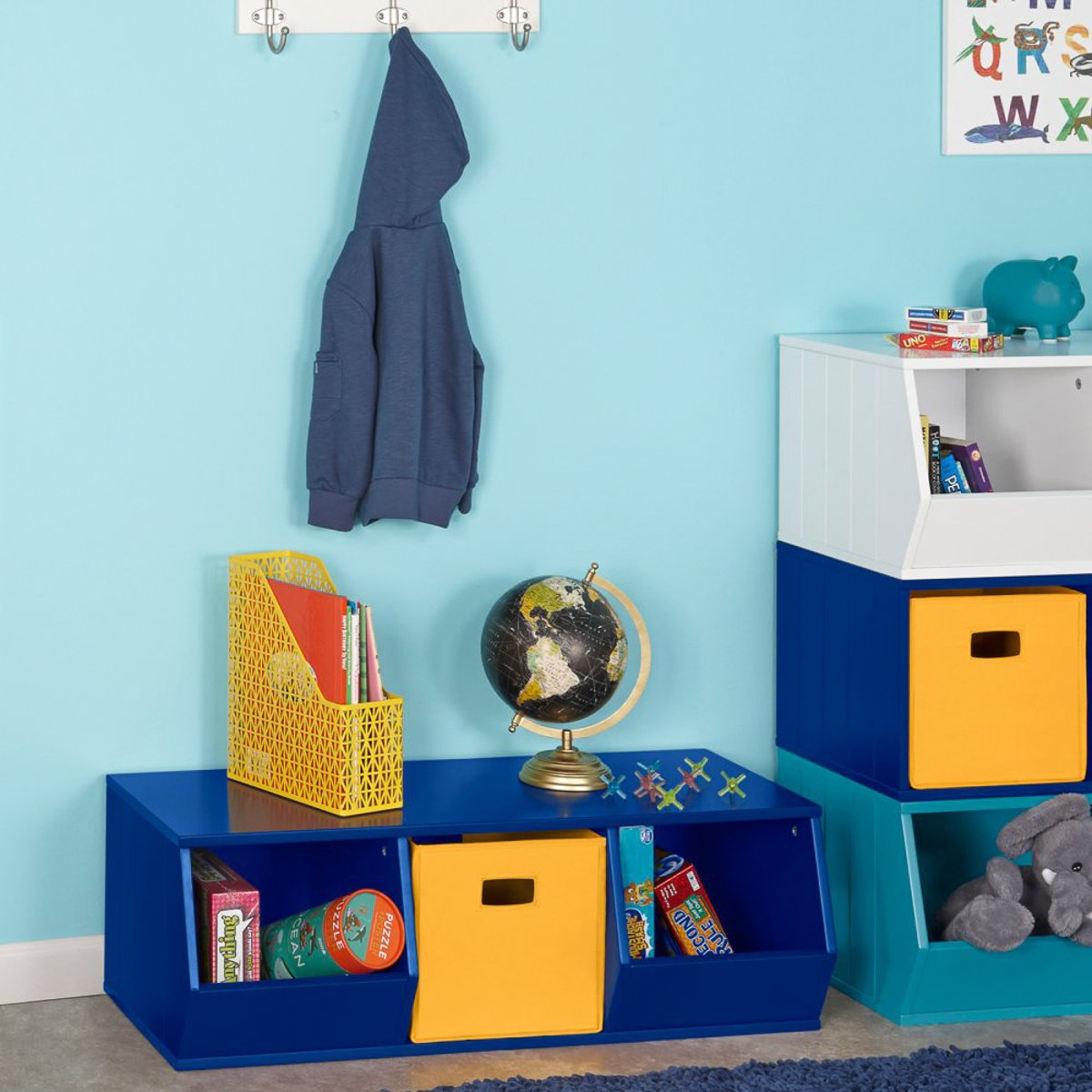 RiverRidge Kids Storage Stacker-2 Veggie Bins-1 Cubby, Navy by RiverRidge Kids (Image #2)