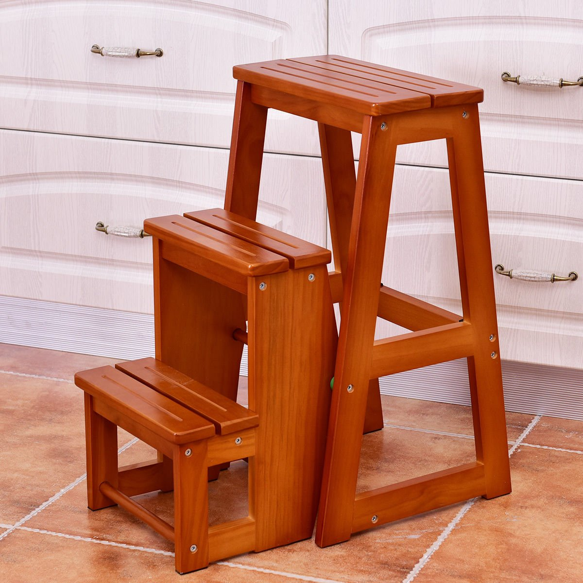patcharaporn Wood Step Stool Folding 3 Tier Ladder Chair Bench Seat Utility Multi-functional