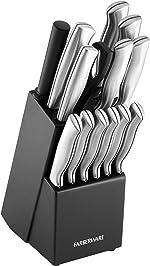 Farberware Stamped 15-Piece High-Carbon Stainless Steel Knife Block Set, Steak Knives