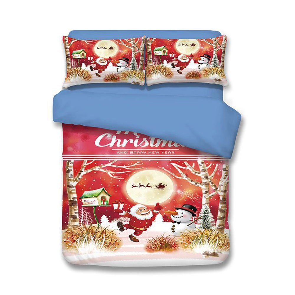 Christmas Snowman Gift Tree Santa Bed Sheet Set Full Size 3pcs