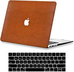Compatible with MacBook Air 13 inch Case 2020 2019 2018 Release A2337 M1 A2179 A1932 DTangLsm MacBook Air Leather Case + Keyboard Cover Slim Plastic Hard Shell Case Laptop Protective Cover Case,CBrown