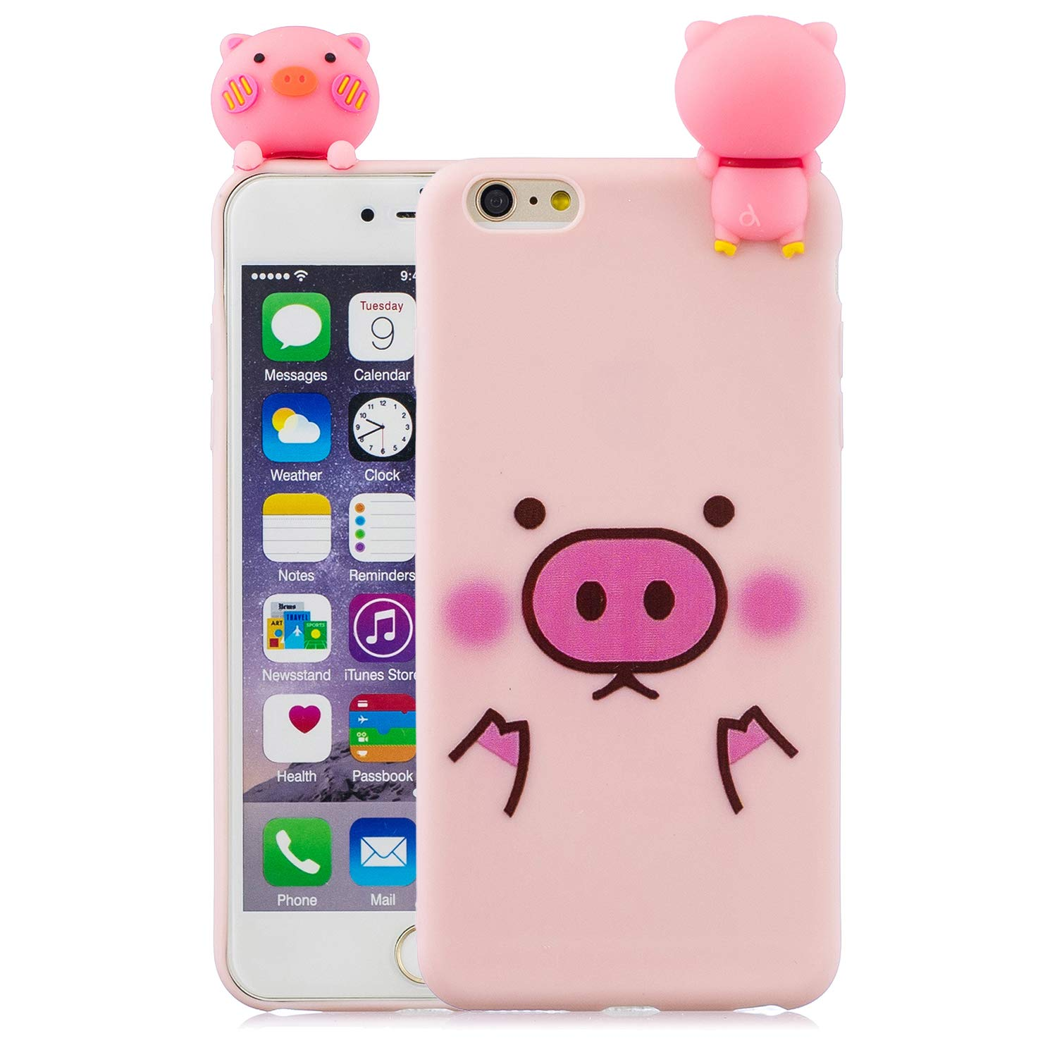 Carols Coque iPhone 6 Plus, [3D Panda Mobile Shell] iPhone 6 Plus /6S Plus (5,5 Zoll) Étui TPU Silicone Souple Coque - Un tas de cochons
