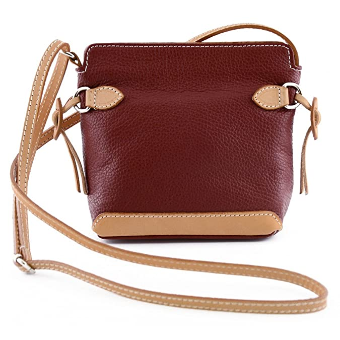 Echtes Leder Damen Umhängetasche, Kontrastfarbige Leder Details Mit Kordeln- Loretla Farbe Rot - Italienische Lederwaren - Damentasche Dream Leather Bags Made in Italy
