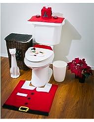 3 Pcs Santa Claus Toilet Tank Lid Cover + Floor Mats Plus + Tissue Box Cover Set Christmas Decorations