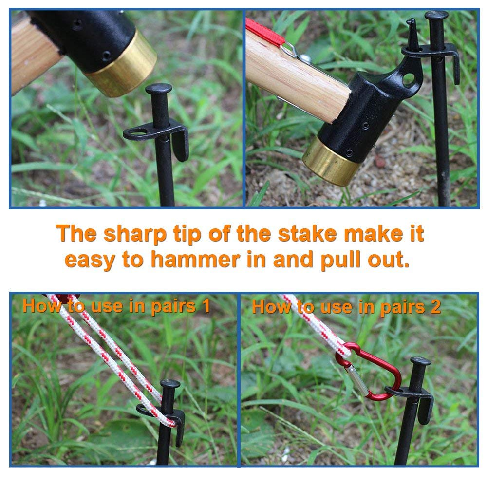 EXPLOMOS Tent Stakes Heavy-Duty Steel Solid Tent Stakes Pegs for Outdoors Mountain-Climbing//Camping Hiking with Metal Stopper 4-Pack