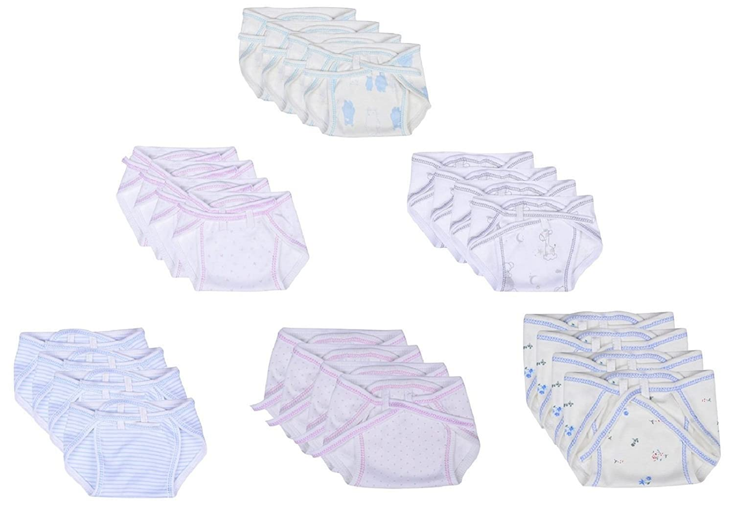 RBC Riya R Newborn Baby Hosiery Cotton Cloth Nappies Pack of 36 pcs (Multi)