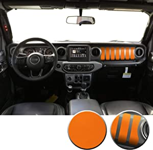 Dashboard Interior Trim Vinyl Graphic Overlay Wrap Decal Compatible with Wrangler JL 2018 2019 2020 - Matte Orange