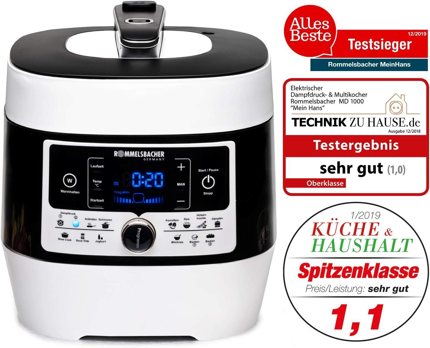 Rommelsbacher MD 1000 4L Negro, Blanco 1000W - Olla a presión (4 L, 4 L, Negro, Blanco, LCD, Digital, De plástico): Amazon.es