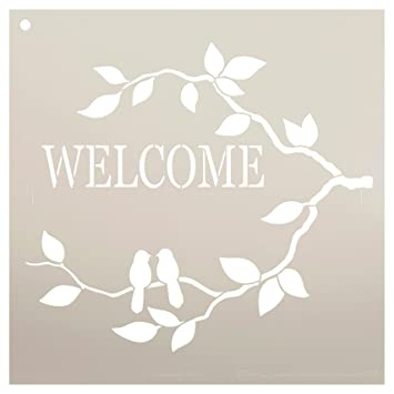 Amazon Com Welcome Stencil With Birds By Studior12 Love Birds And