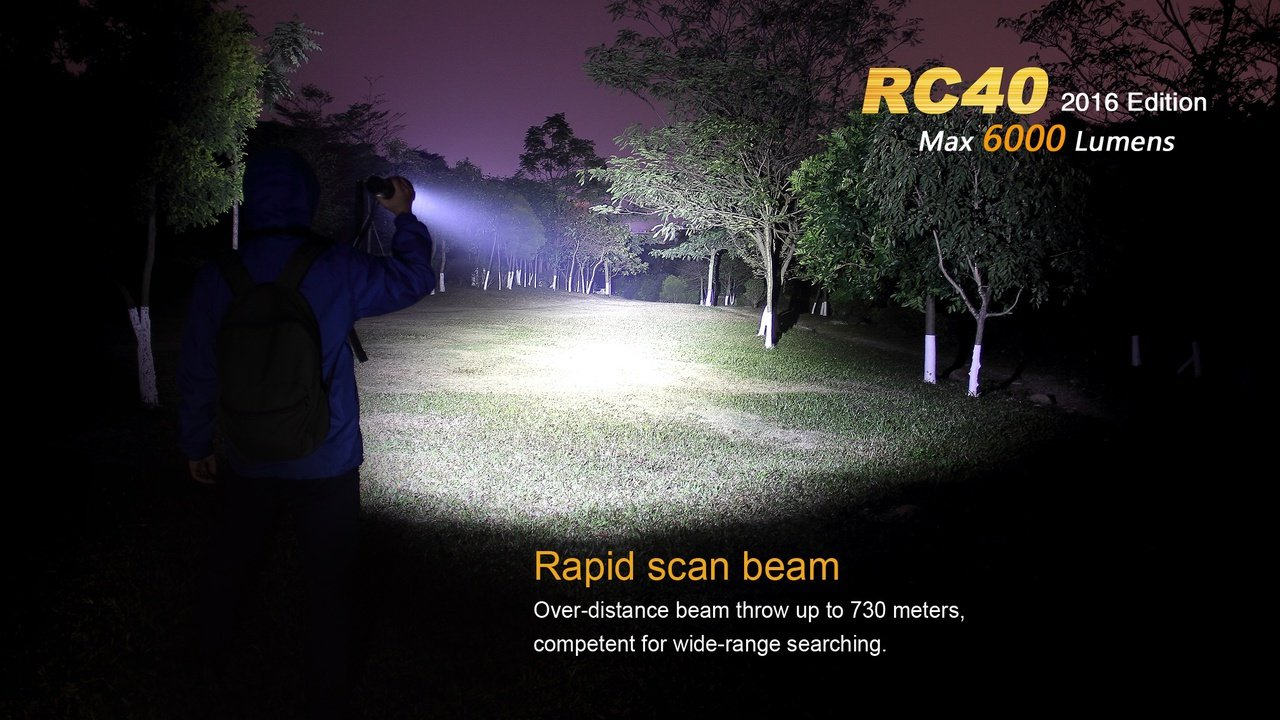 Fenix RC40 2016 Rechargeable LED Flashlight 6000 Lumens with 7800mAh rechargeable battery, Home/Car charger and 30 Lumen AAA Keychain Light by Fenix (Image #3)